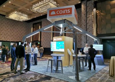 Coins - industrial look custom trade show display